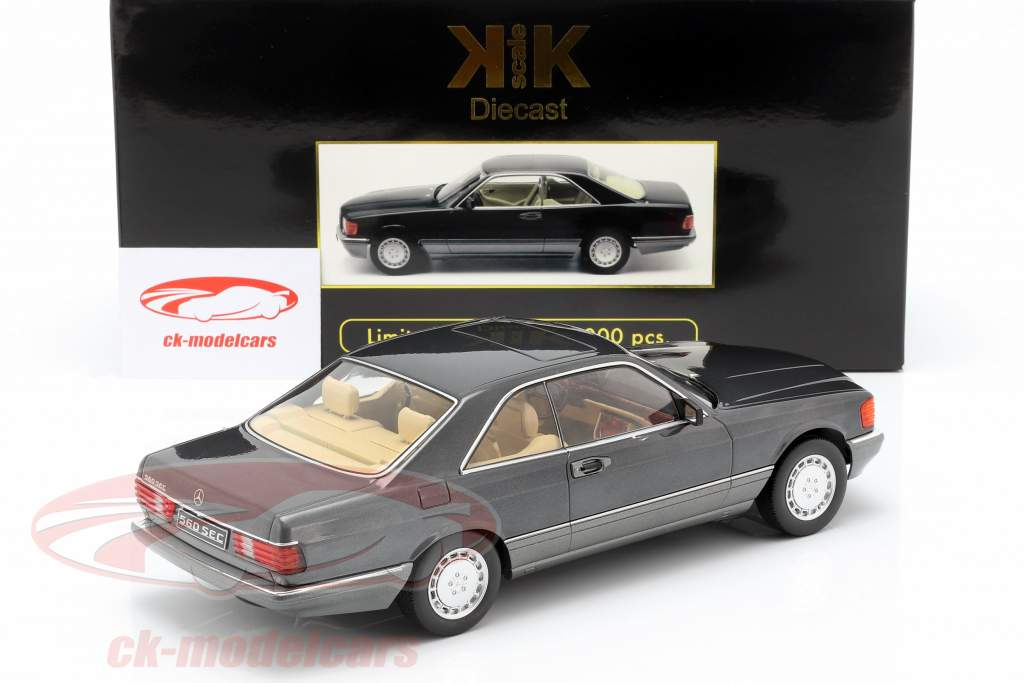 Mercedes-Benz 560 SEC C126 anno di costruzione 1985 antracite 1:18 KK-Scale