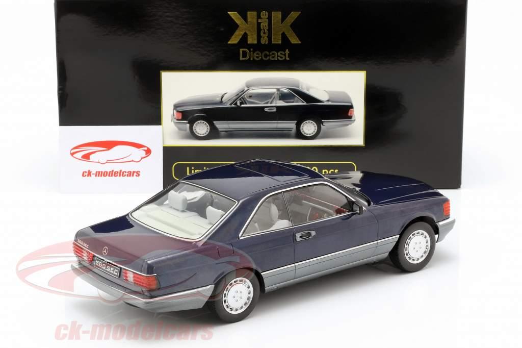 Mercedes-Benz 560 SEC C126 year 1985 blue metallic 1:18 KK-Scale