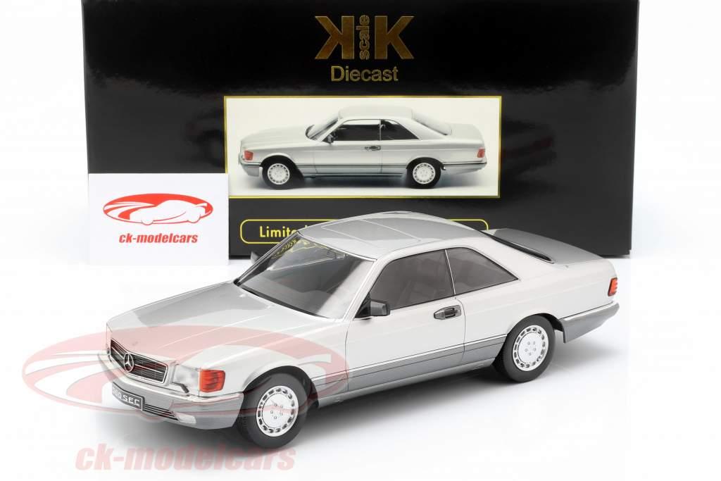 Mercedes-Benz 560 SEC C126 ano de construção 1985 prata 1:18 KK-Scale
