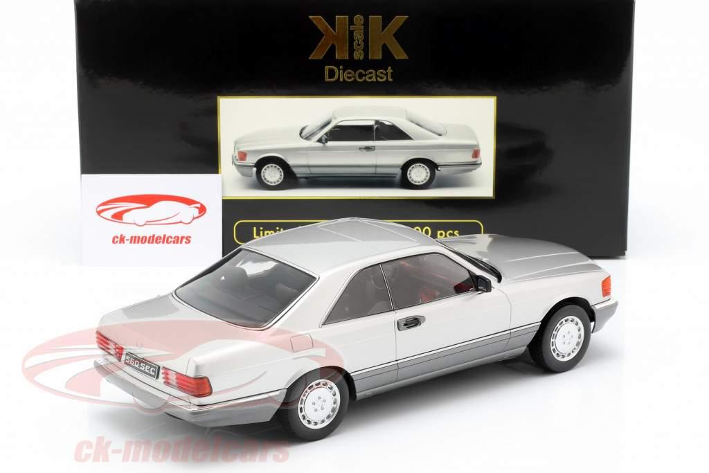 Mercedes-Benz 560 SEC C126 año de construcción 1985 plata 1:18 KK-Scale