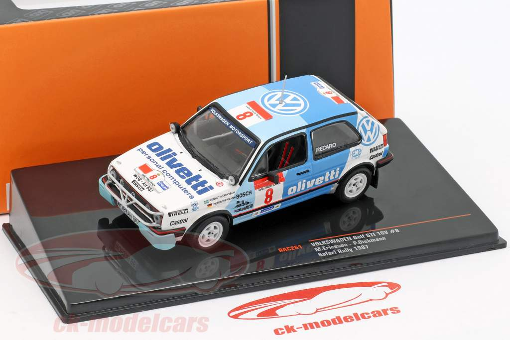 Volkswagen VW Golf GTi 16V #8 Safari Rallye 1987 Eriksson, Diekmann 1:43 Ixo
