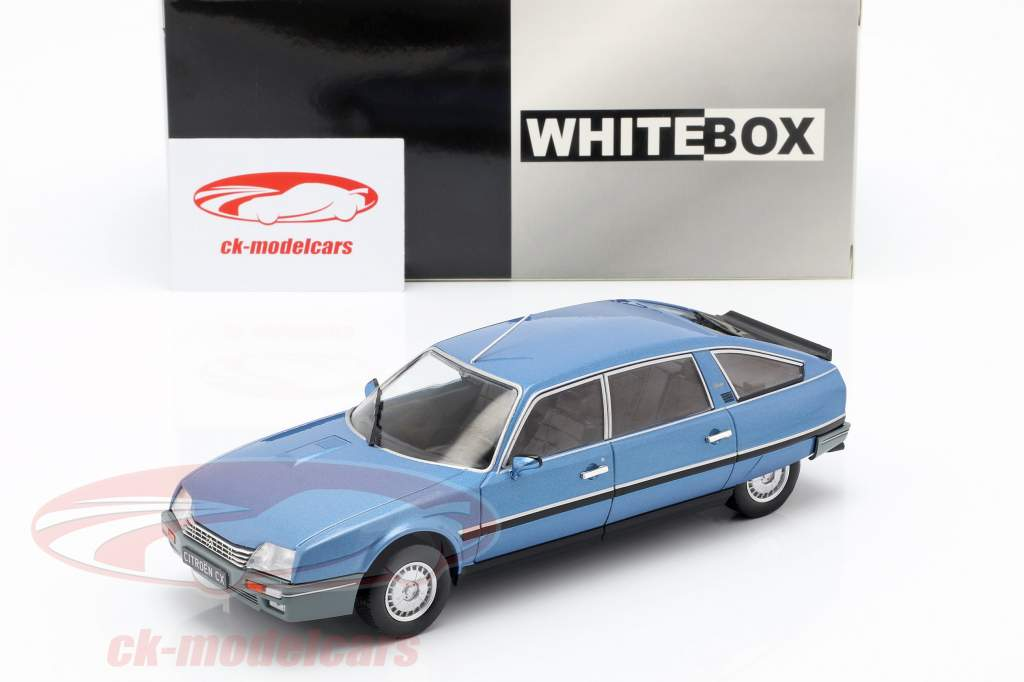 Citroen CX 2500 Prestige Phase 2 Opførselsår 1986 blå metallisk 1:24 WhiteBox