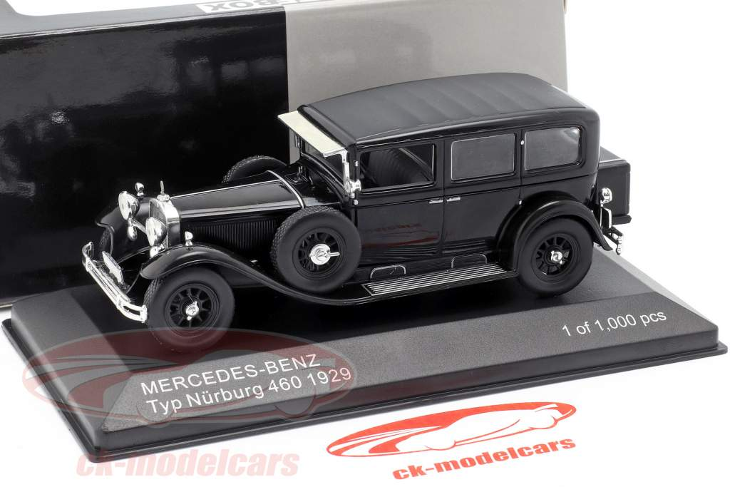 Mercedes-Benz type Nürburg 460 (W08) année de construction 1929 noir 1:43 WhiteBox