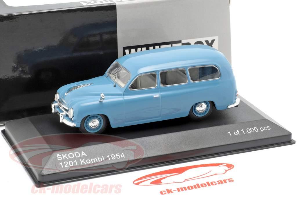 Skoda 1201 break année de construction 1954 bleu 1:43 WhiteBox