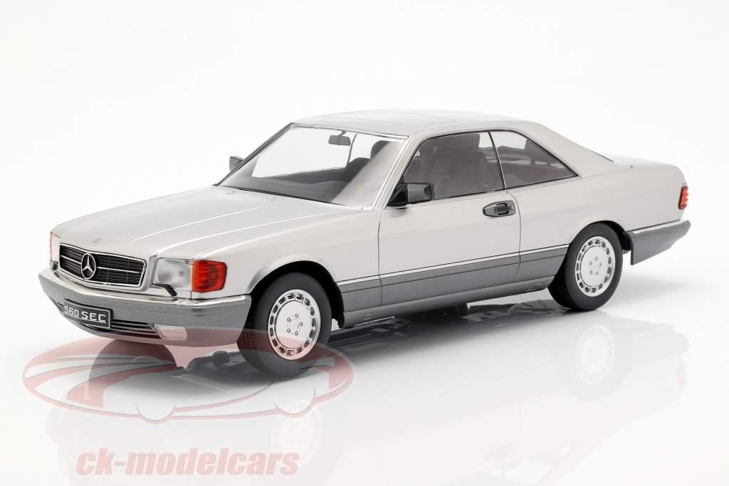 Mercedes-Benz 560 SEC C126 anno di costruzione 1985 argento 1:18 KK-Scale