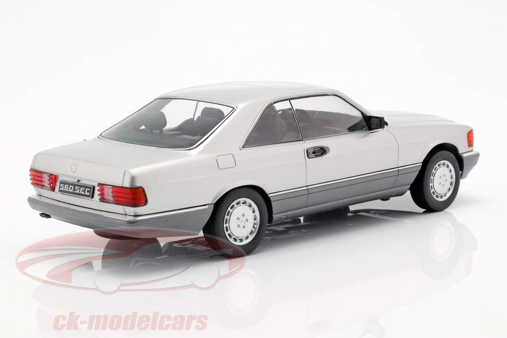 Mercedes-Benz 560 SEC C126 Opførselsår 1985 sølv 1:18 KK-Scale