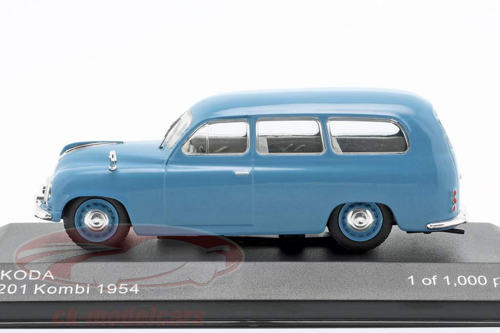Skoda 1201 stationcar Opførselsår 1954 blå 1:43 WhiteBox