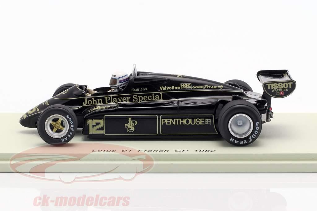 Geoff Lees Lotus 91 #12 français GP formule 1 1982 1:43 Spark