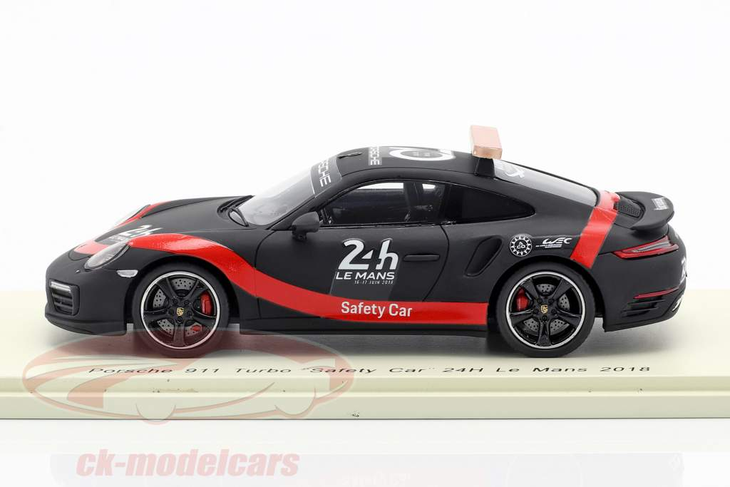 Porsche 911 Turbo Safety Car 24h LeMans 2018 black / red 1:43 Spark