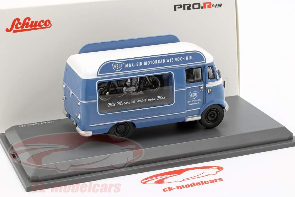 Mercedes-Benz L319 promoção carro NSU Max azul / branco 1:43 Schuco