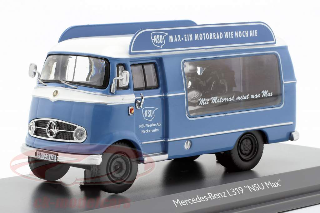 Mercedes-Benz L319 promotie auto NSU Max blauw / wit 1:43 Schuco