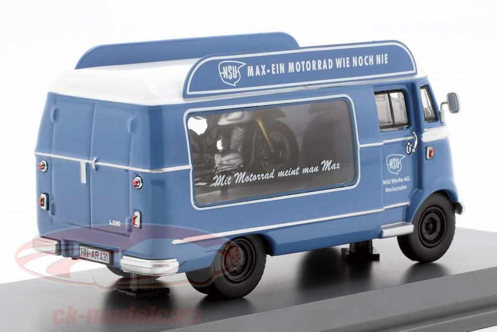 Mercedes-Benz L319 promotion voiture NSU Max bleu / blanc 1:43 Schuco