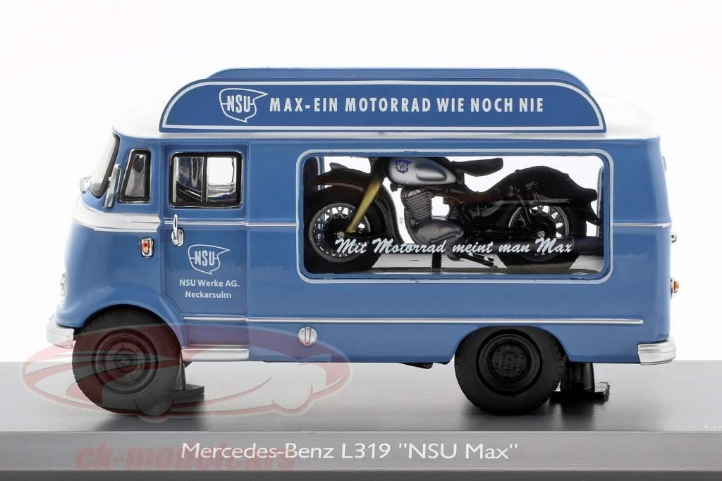 Mercedes-Benz L319 forfremmelse bil NSU Max blå / hvid 1:43 Schuco
