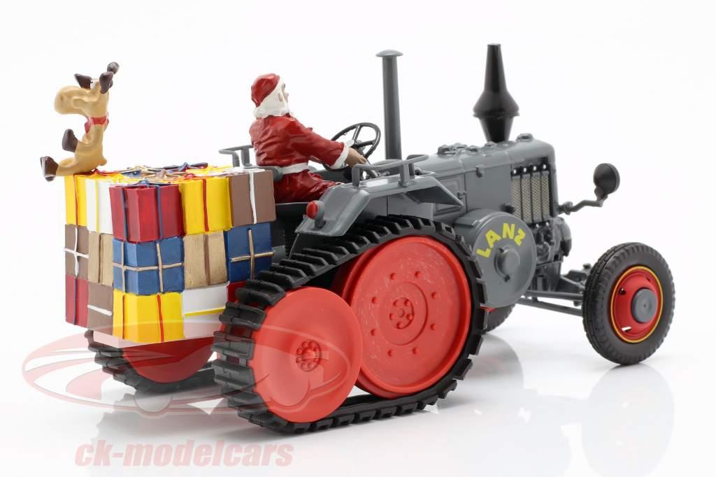 Lanz Bulldog avec chenille Noël 2018 gris 1:32