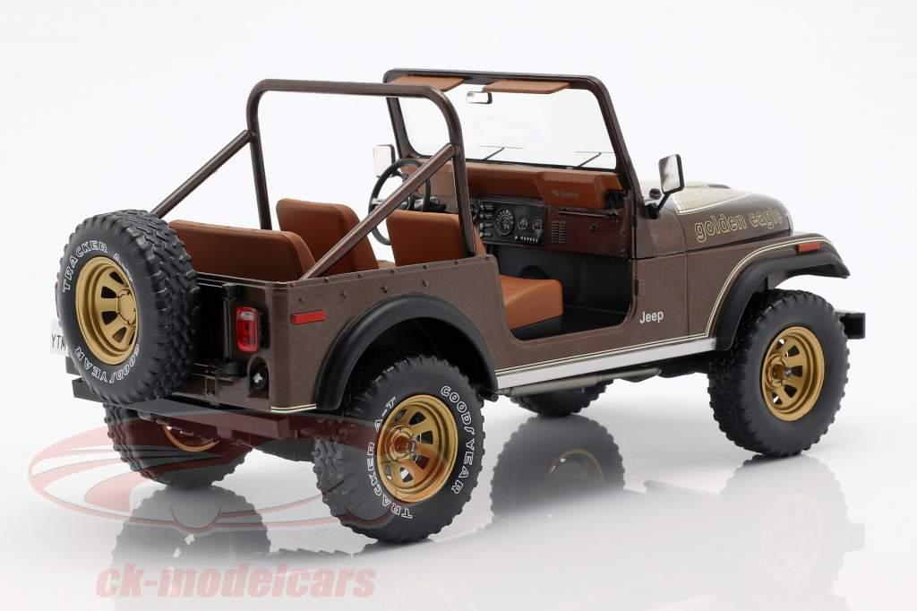 Jeep CJ-7 Golden Eagle Opførselsår 1976 mørkebrun metallisk 1:18 Model Car Group