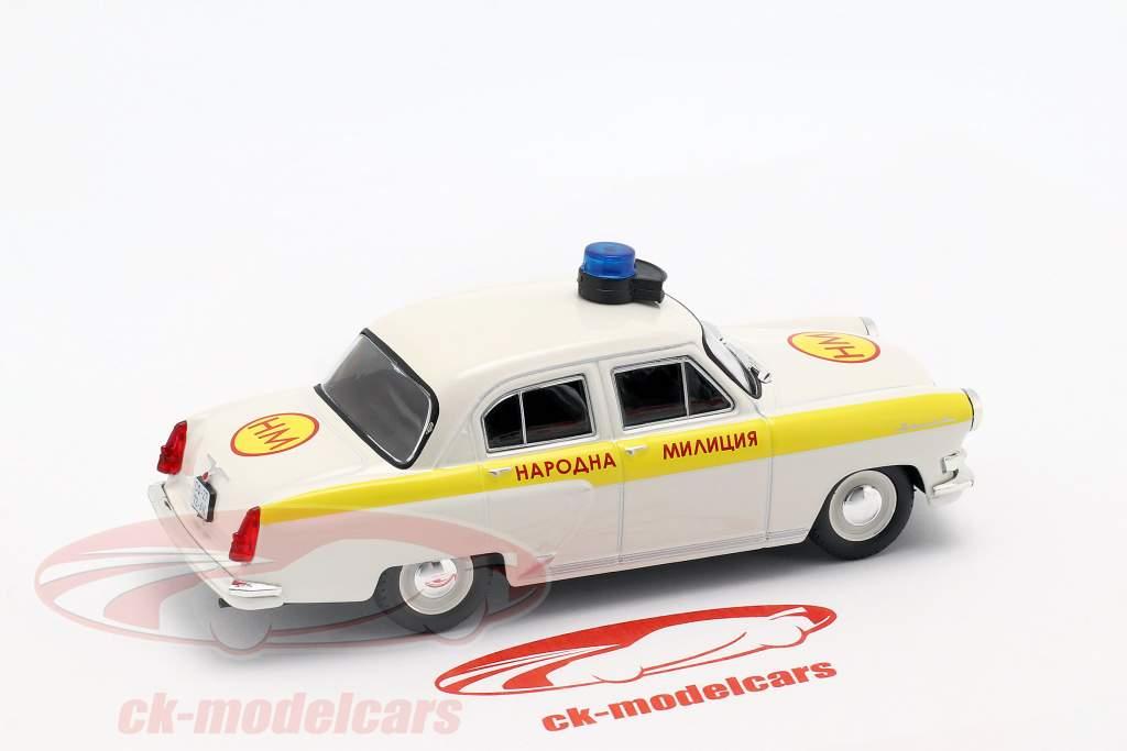 Wolga GAZ M21 polícia branco / amarelo em bolha 1:43 Altaya