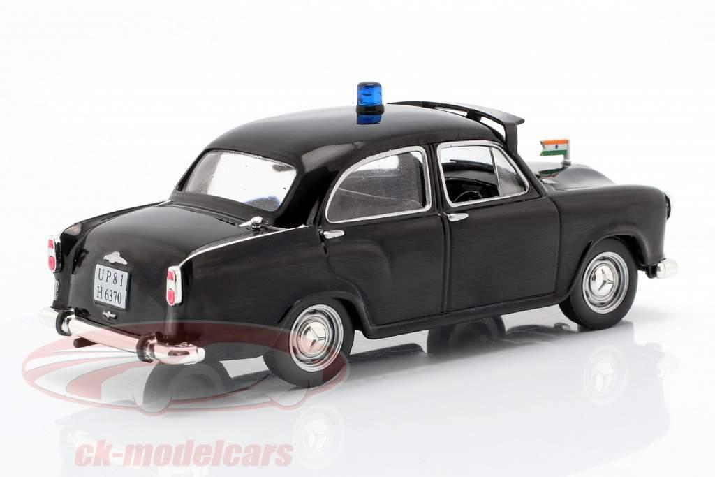Hindustan Ambassador politie zwart in blaar 1:43 Altaya