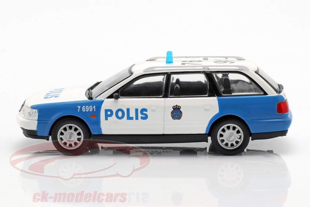 Audi A6 Avant polizia bianco / blu in bolla 1:43 Altaya