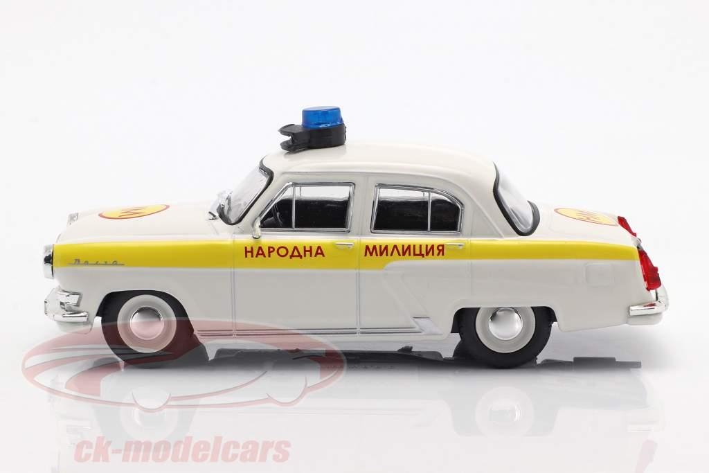 Wolga GAZ M21 police blanc / jaune en cloque 1:43 Altaya