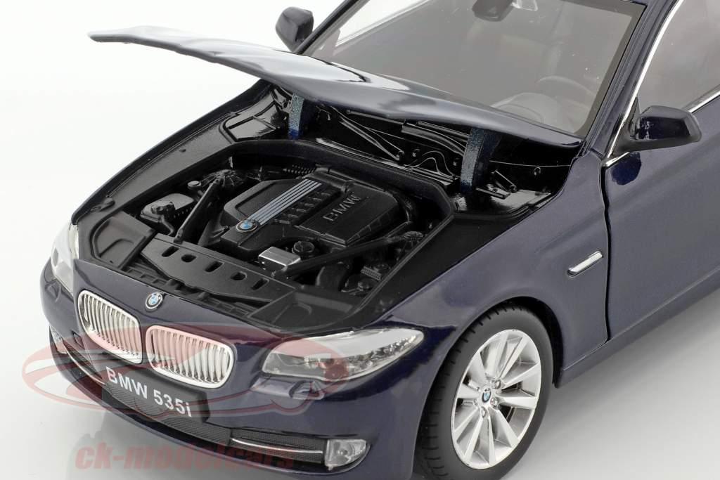 BMW 535i année de construction 2010 bleu foncé métallique 1:24 Welly