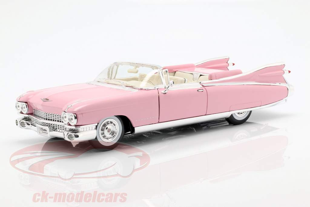 Cadillac Eldorado Biarritz Jaar 1959 roze 1:18 Maisto