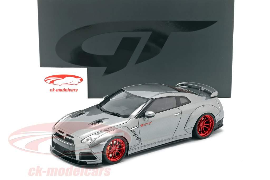 Nissan GT-R (R35) Prior Design Bouwjaar 2015 grijs metalen 1:18 GT-Spirit