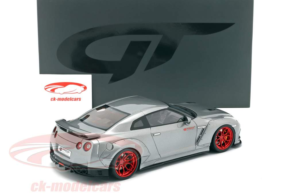 Nissan GT-R (R35) Prior Design Baujahr 2015 grau metallic 1:18 GT-Spirit