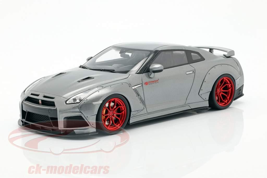 Nissan GT-R (R35) Prior Design year 2015 grey metallic 1:18 GT-Spirit