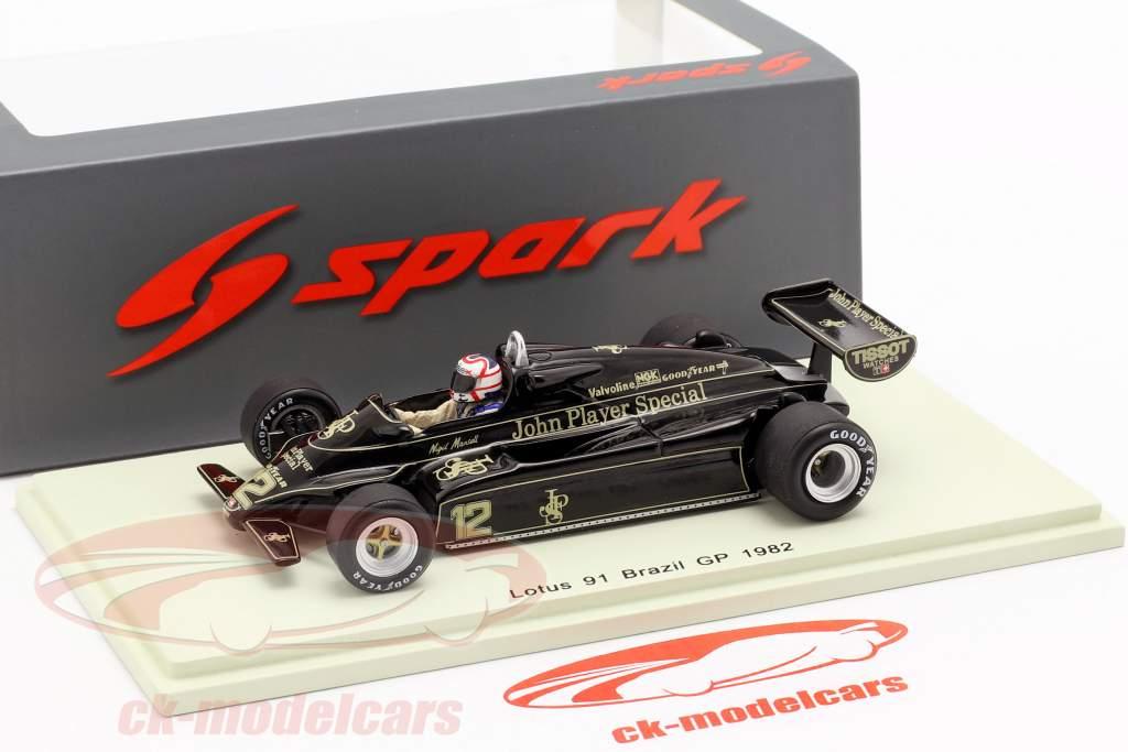 Nigel Mansell Lotus 91 #12 3rd Brazil GP Formel 1 1982 1:43 Spark