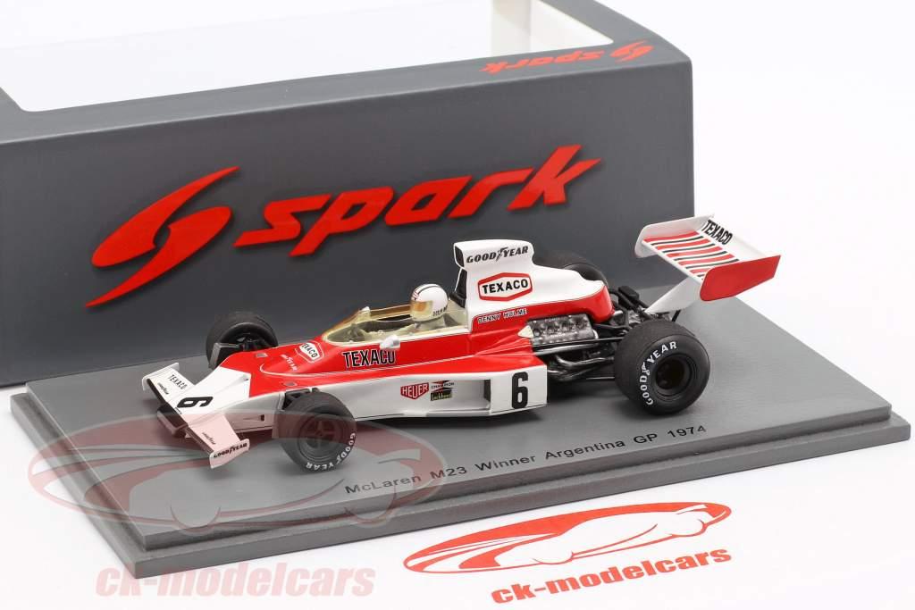 Denis Hulme McLaren M23 #6 gagnant Argentinian GP formule 1 1974 1:43 Spark