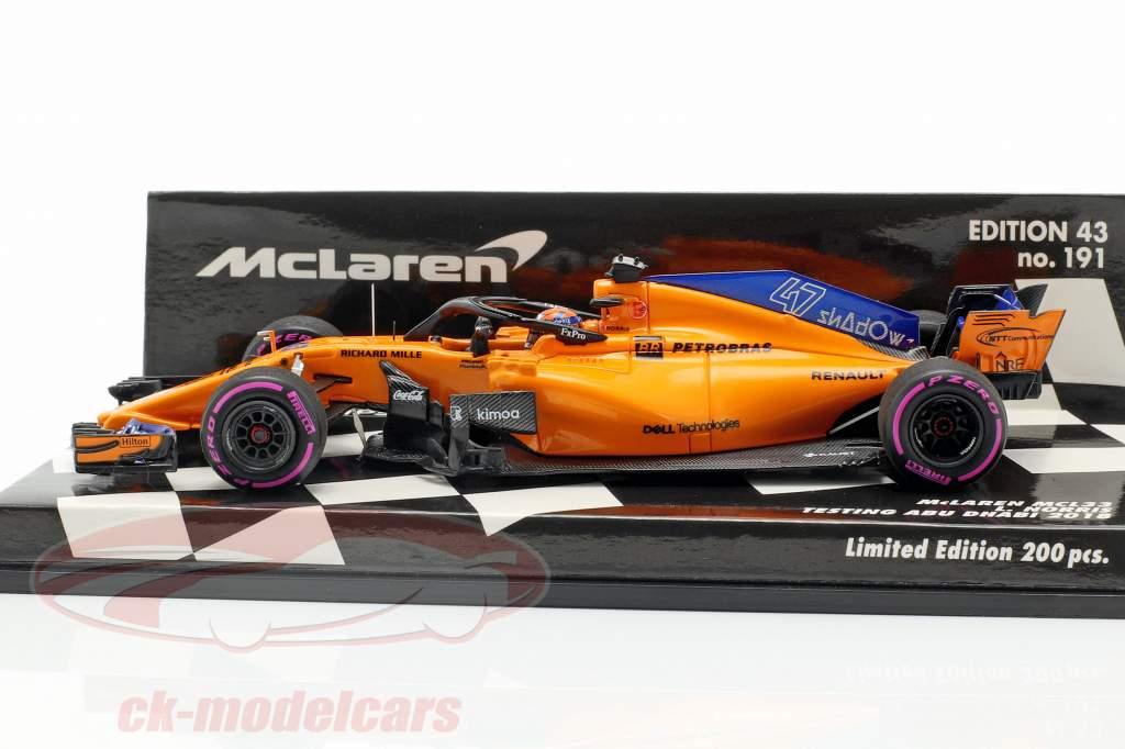 Lando Norris McLaren MCL33 #47 test Abu Dhabi GP F1  2018 1:43 Minichamps