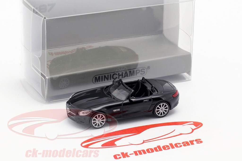 Mercedes-Benz AMG GTS Roadster Construction year 2015 black 1:87 Minichamps