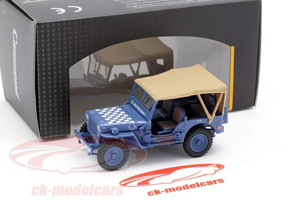 Jeep CJ-5 1/4 Ton militare veicolo US Army anno di costruzione 1944 blu / beige 1:43 Cararama