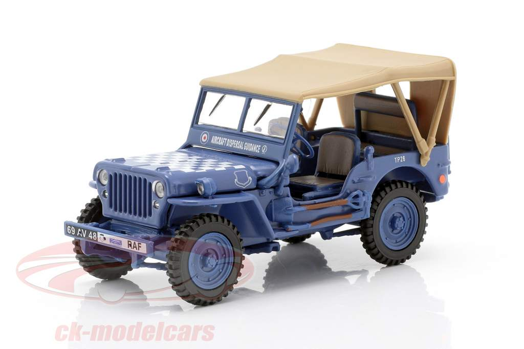 Jeep CJ-5 1/4 Ton militar veículo US Army ano de construção 1944 azul / bege 1:43 Cararama