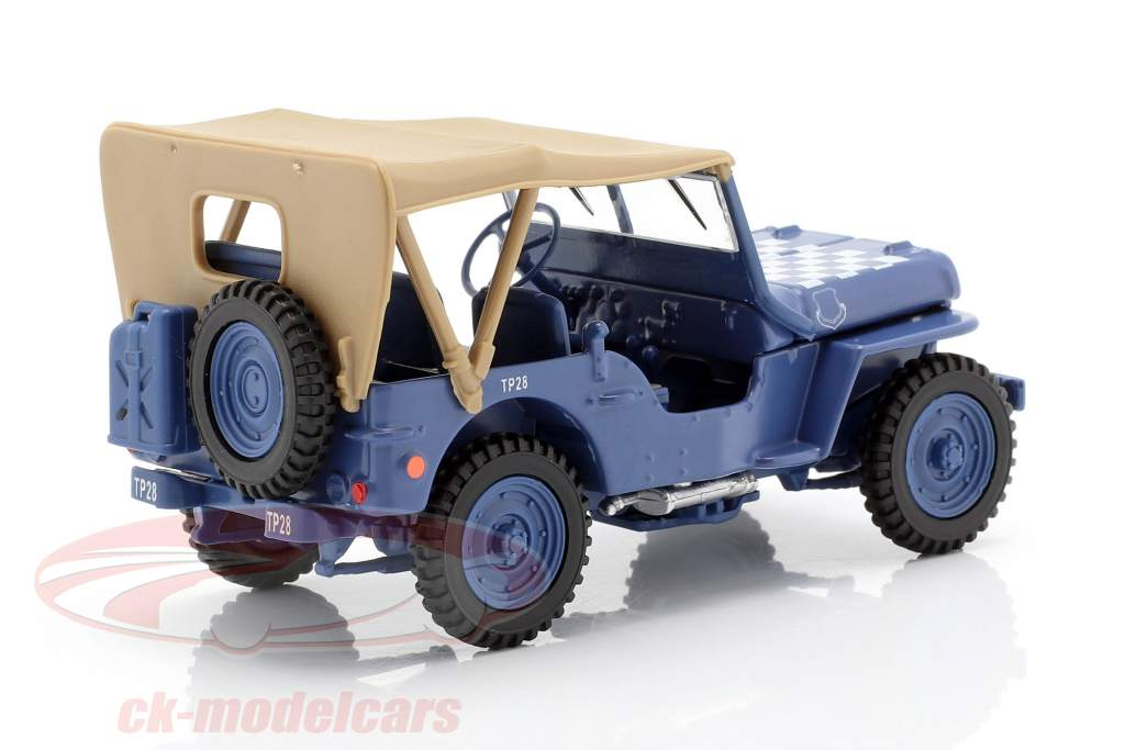 Jeep CJ-5 1/4 Ton Military vehicle US Army Construction year 1944 blue / beige 1:43 Cararama