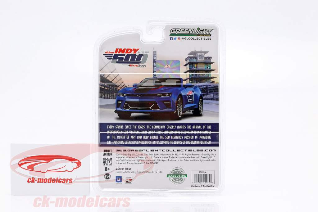 Chevrolet Camaro SS Indy 500 2018 Event Car Penngrade Motor Oil 1:64 Greenlight