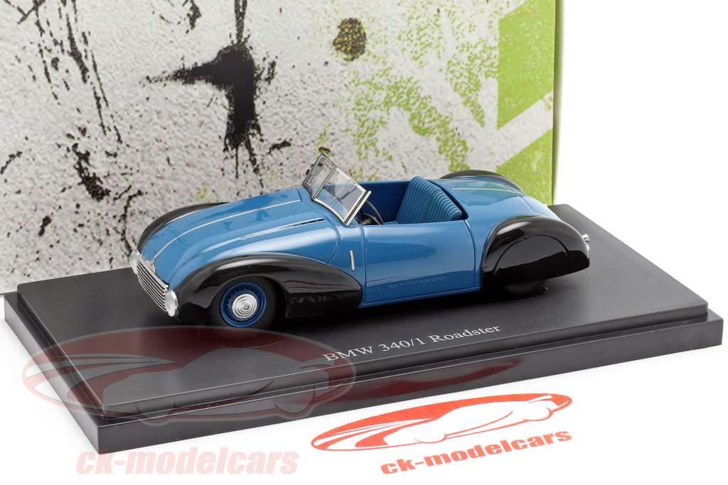BMW 340/1 Roadster Bouwjaar 1949 blauw / zwart 1:43 AutoCult