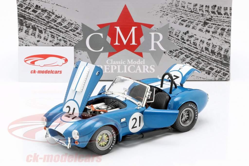 Shelby Cobra 427 Racing #21 a1965 zul / branco 1:18 CMR