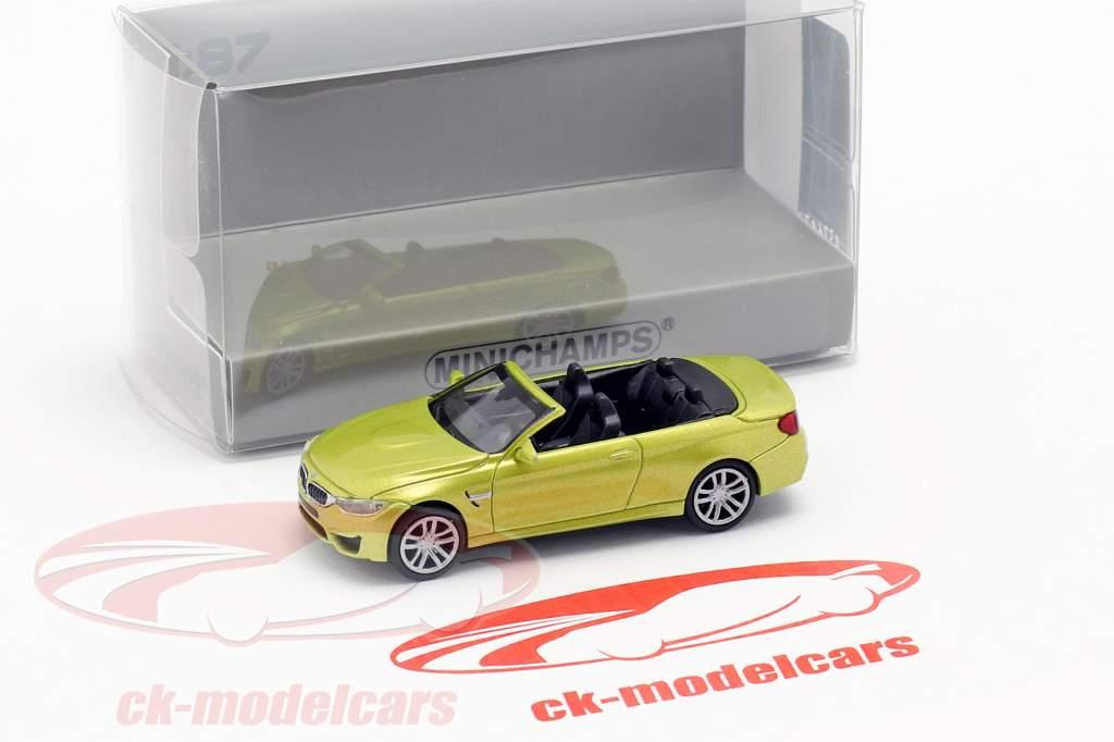 BMW M4 Cabriolet Bouwjaar 2015 geel metalen 1:87 Minichamps