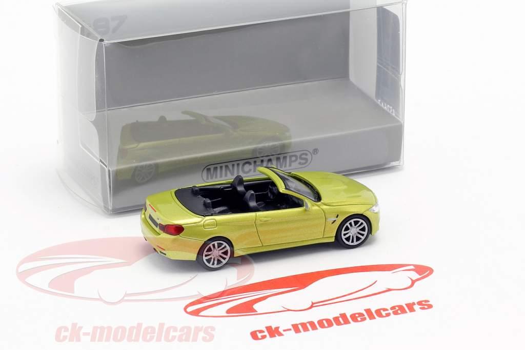 BMW M4 Cabriolet Construction year 2015 yellow metallic 1:87 Minichamps