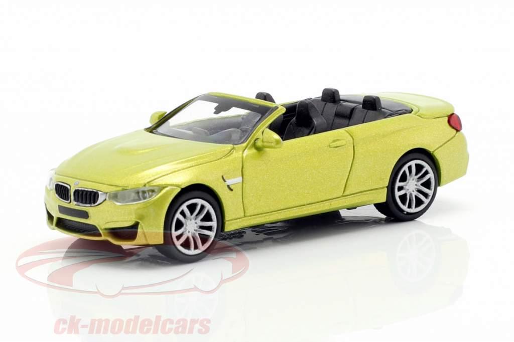 BMW M4 Cabriolet Baujahr 2015 gelb metallic 1:87 Minichamps