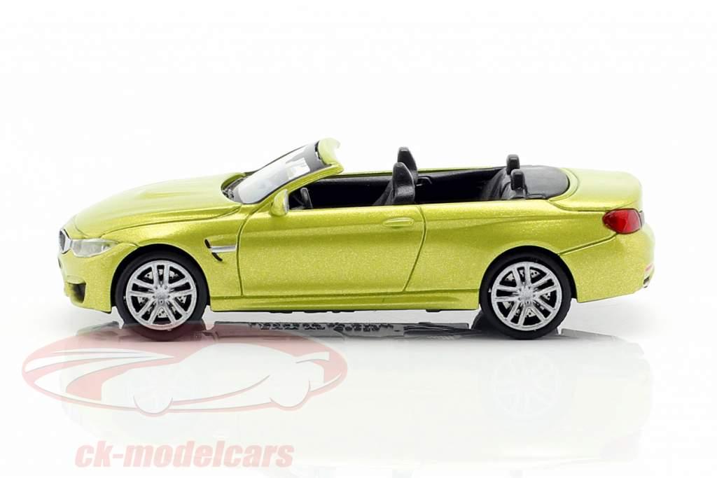 BMW M4 Cabriolet Opførselsår 2015 gul metallisk 1:87 Minichamps