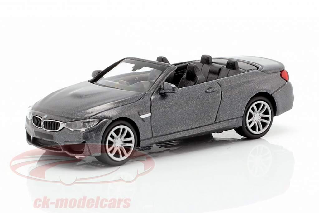 BMW M4 Cabriolet Baujahr 2015 grau metallic 1:87 Minichamps
