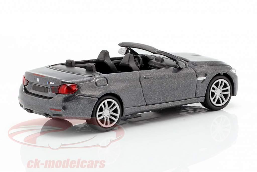 BMW M4 Cabriolet Opførselsår 2015 grå metallisk 1:87 Minichamps