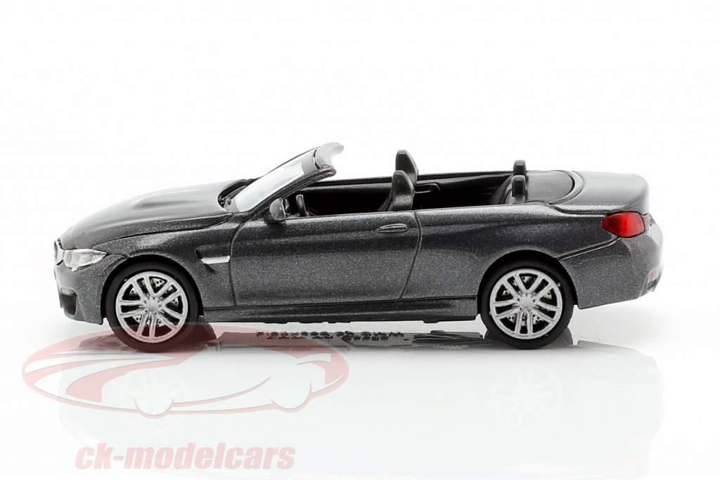 BMW M4 Cabriolet Bouwjaar 2015 grijs metalen 1:87 Minichamps