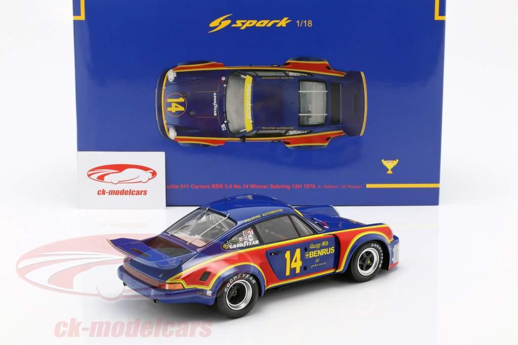 Porsche 911 Carrera RSR #14 Vinder 12h Sebring 1976 Holbert, Keyser 1:18 Spark