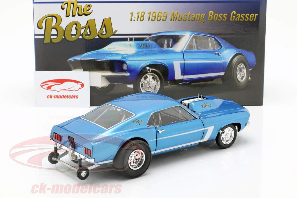 Ford Mustang Gasser The Boss Bouwjaar 1969 blauw metalen 1:18 GMP