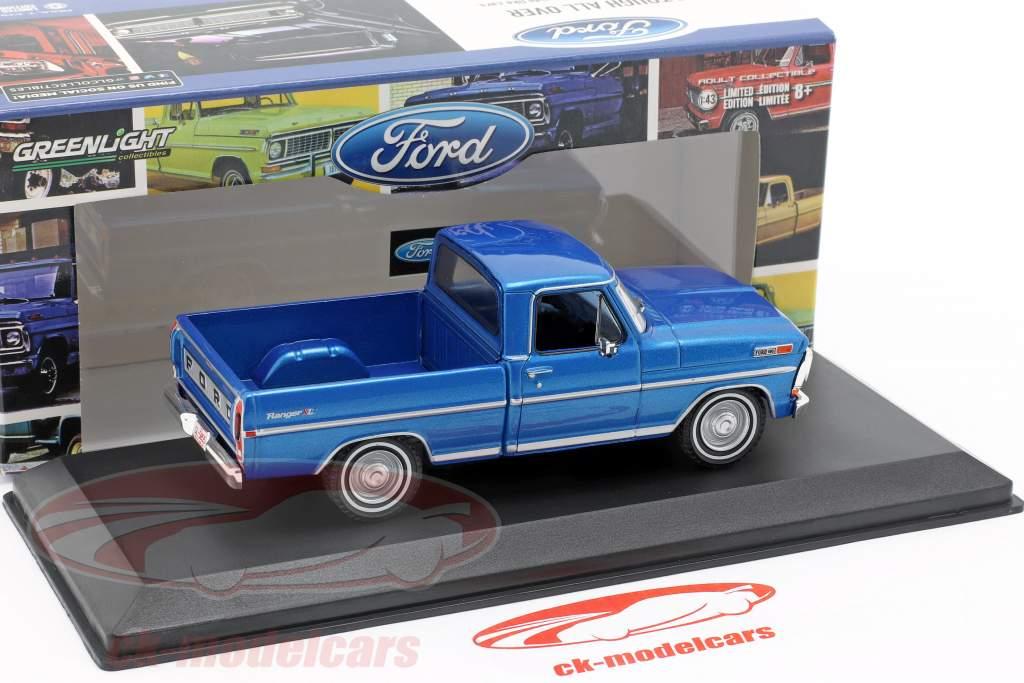 Ford F-100 Pick-Up camión año de construcción 1970 azul metálico 1:43 Greenlight