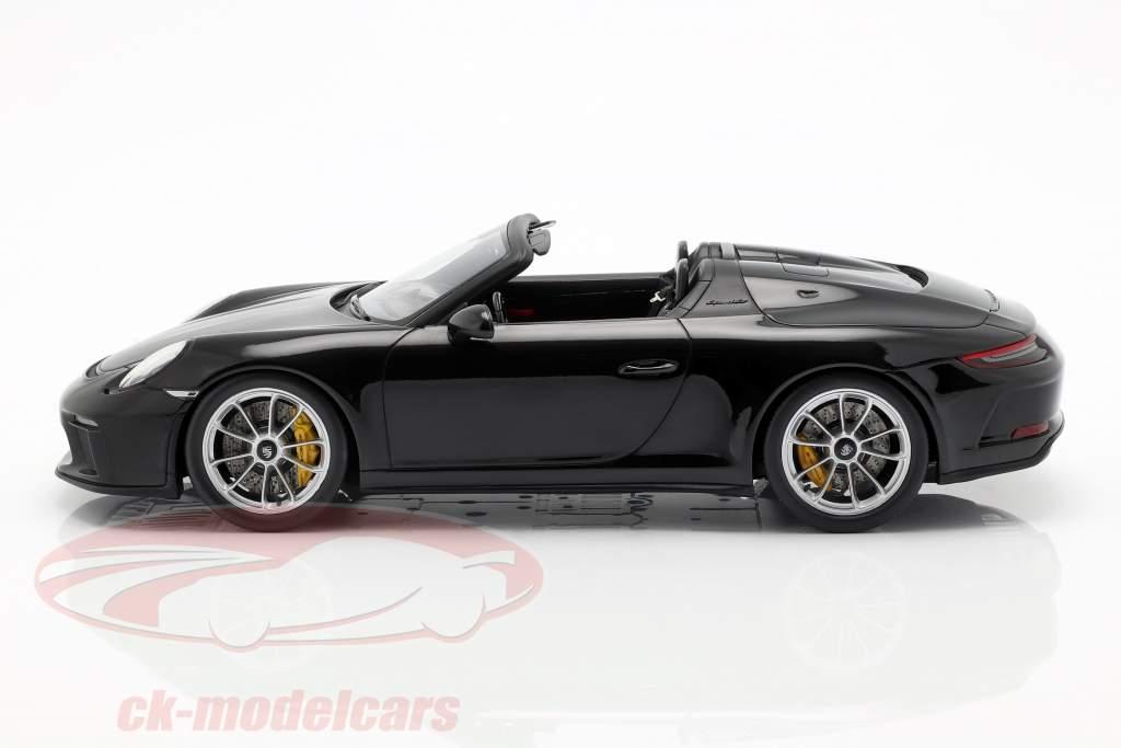 Porsche 911 (991 II) Speedster Bouwjaar 2019 met vitrine zwart 1:18 Spark