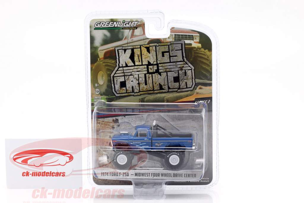 Ford F-250 Monster Truck Kings of Crunch ano de construção 1974 azul 1:64 Greenlight